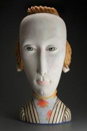 "Sergei Isupov, ""Hair On"" 2006–2015, porcelain, slip, glaze, 36 x 17 x 11""."
