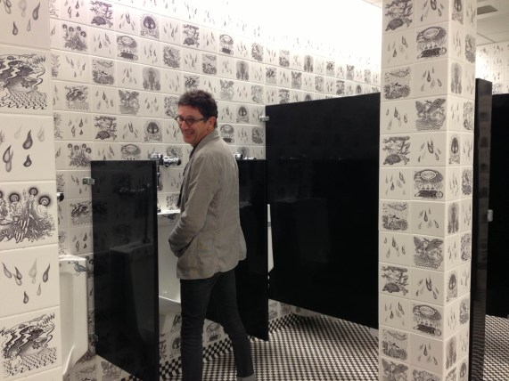 Paul Scott - Western Massachusetts - visiting Smith College Museum of Art - with Sandy Skoglund in the Kohler bathroom