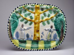 "Stephen Bird, ""Majolica Shoot Out"" 2012, earthenware, pigment, glaze, 15.75 x 19.5"". Courtesy Garis and Hahn Gallery."