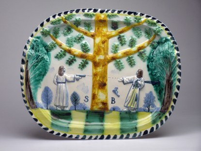"Stephen Bird, ""Majolica Shoot Out"" 2012, earthenware, pigment, glaze, 15.75 x 19.5"". Courtesy Garis and Hahn Gallery."