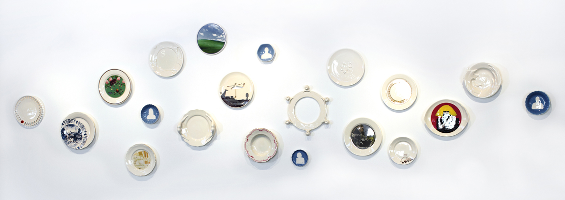 "Doda Design: Aya Margulis & Rae'ut Stern, ""Web Souvenirs"" 2010-2013, earthenware, under glaze, glaze, gold luster, digital print, 148 x 42""."