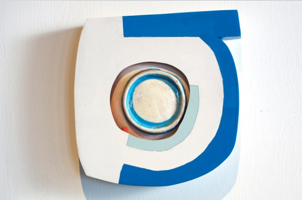 "Brian R. Jones, ""Alembic (Letter B)"" 2012, earthenware, slips, glaze, plywood, milk paint, 18 x 18 x 3""."