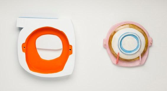 "Brian R. Jones, ""Alembic (Letter B)"" 2012, earthenware, slips, glaze, plywood, milk paint, 18 x 18 x 3""."