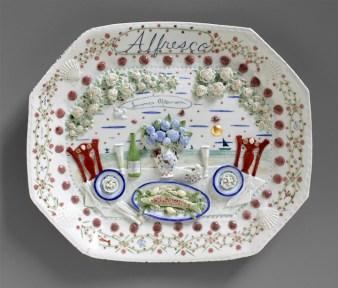 """Mara Superior, """"Alfresco"""" 2011, porcelain, gold leaf, 10 x 20 x 2.5""""."""