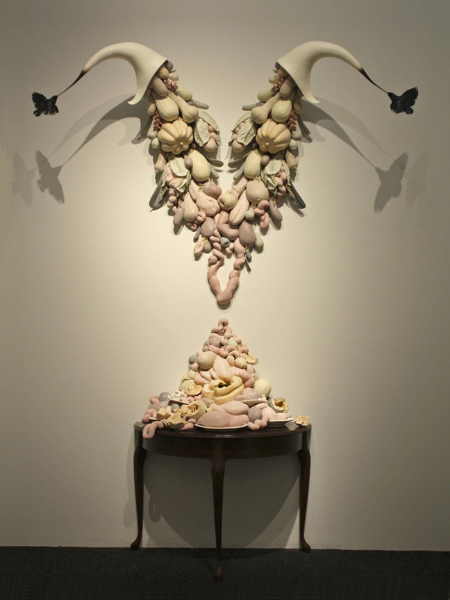 "Dirk Staschke, ""My Beautiful Nothing"" 2010, ceramic, mixed media, 96 x 21.75 x 126"". Courtesy of Wexler Gallery"