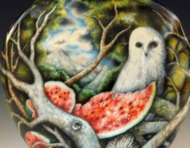"Kurt Weiser, ""Untitled Jar"" 2013, porcelain, china paint, 19.5 x 12 x 7""."