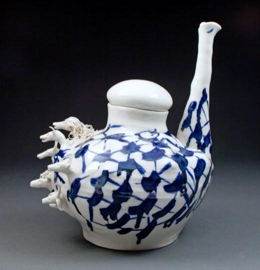 "Coille Hooven, ""Hookah Animals"" 1975, porcelain, 10.375 x 9 x 11.75""."