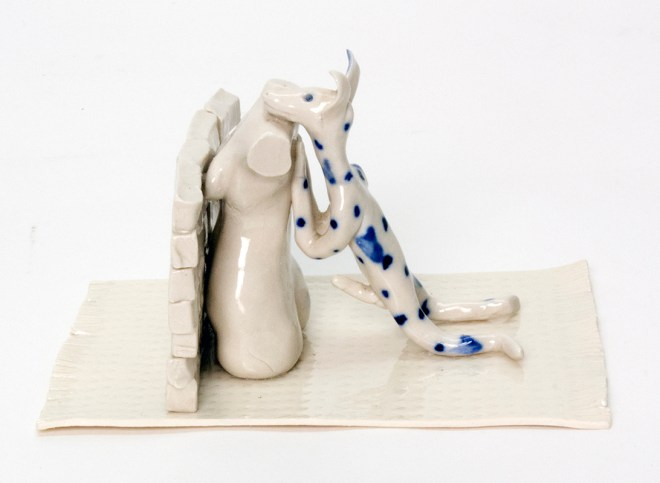 """Coille Hooven, """"Breaking the Wall"""" 1991, porcelain, cobalt, glaze, 4 x 6 x 4.5""""."""
