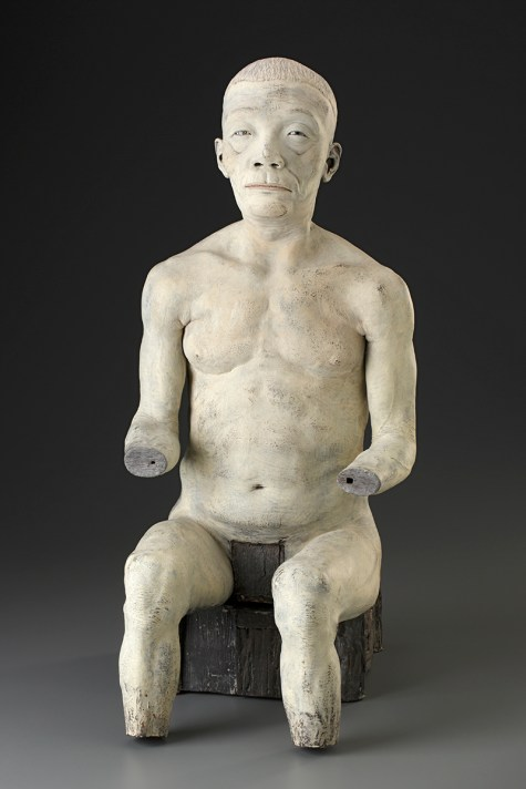 "Doug Jeck, ""Figurine"" 1998, earthenware, 25.5 x 11 x 11""."