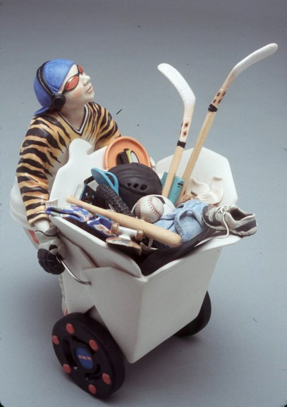 "Katherine McBride, ""One Teenager To Go: Cirque C'est La Vie Series"" 2004, porcelain, 10.75 x 8.75 x 7""."