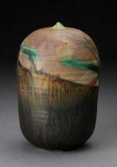 "Toshiko Takaezu, ""Untitled Form #53m"" 1990, glaze, porcelain, 8.5 x 5""."