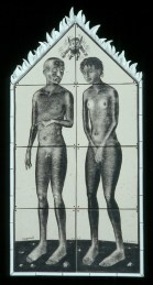 "Sergei Isupov, ""Tile House (Man Woman)"" 2003, vitreous china, 86 x 43""."