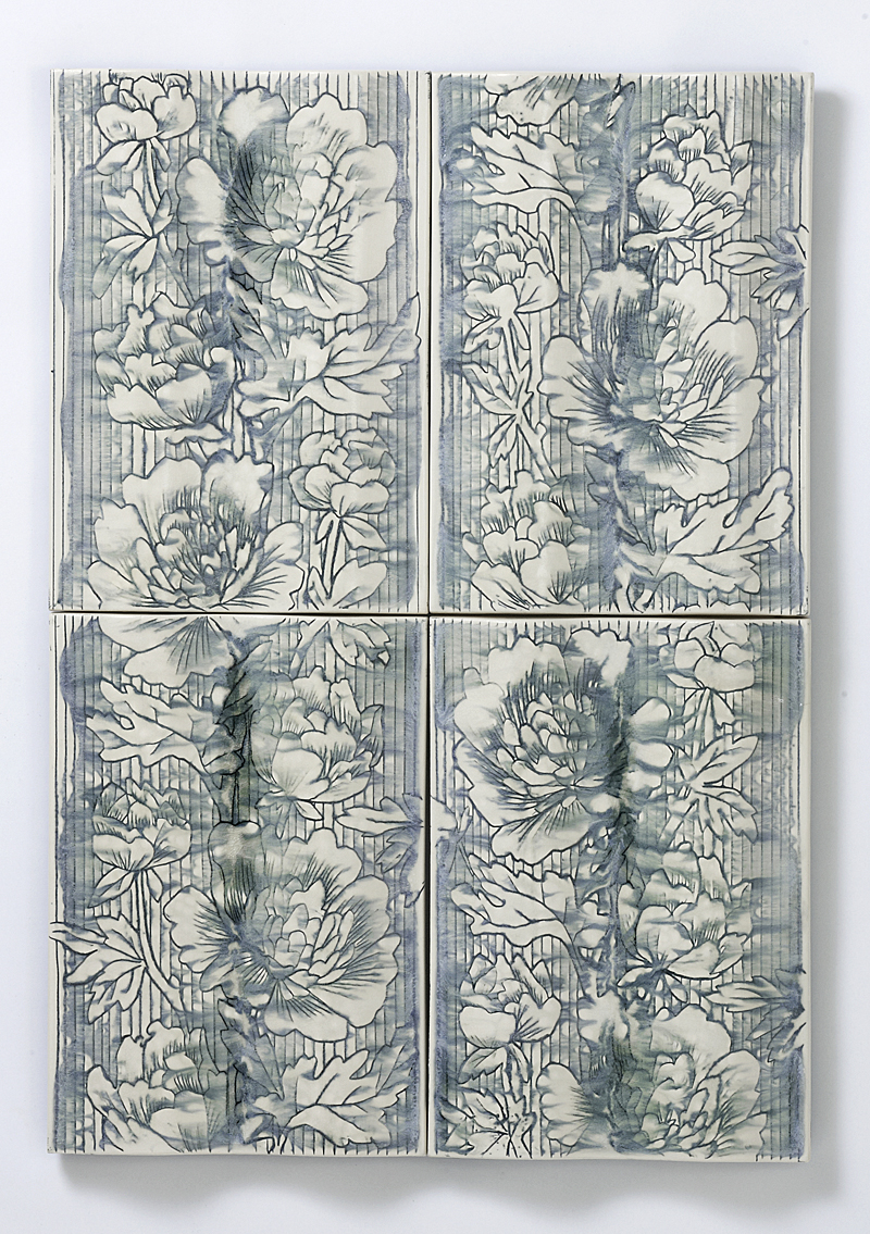 """Giselle Hicks, """"Floral Wave Tiles"""" (detail), 2012, vitreous china, 80 x 45 x 1.5""""."""