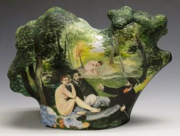 "Kadri Pärnamets, ""Picnic Teapot"" 2014, porcelain, glaze, stain, 7.5 x 10.25 x 4""."
