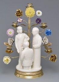 """Leopold Foulem, """"Trio Flower Patch"""", 2012, ceramic and found objects, 20 x 15.25 x 8.5""""."""