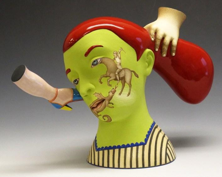 "Sergei Isupov, ""The Hero's Mother"" 2012, porcelain, glaze, stain, 8.5 x 12 x 4""."