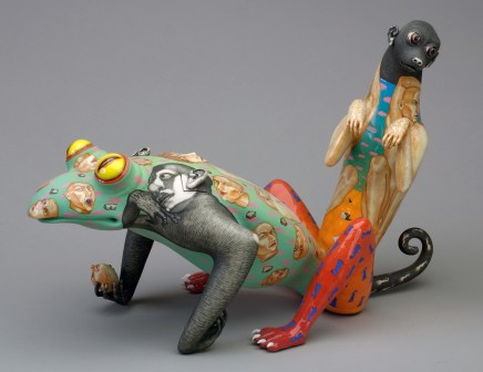 "Sergei Isupov, ""Symbol"" 1999, porcelain, glaze, stain, 12.5 x 8.5 x 19"". Collection of Racine Art Museum, Racine, WI."