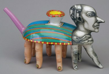 """Sergei Isupov, """"The Delivery"""" 1996, porcelain, glaze, stain, 5.5 x 11 x 4"""". Collection of Racine Art Museum, Racine, WI."""