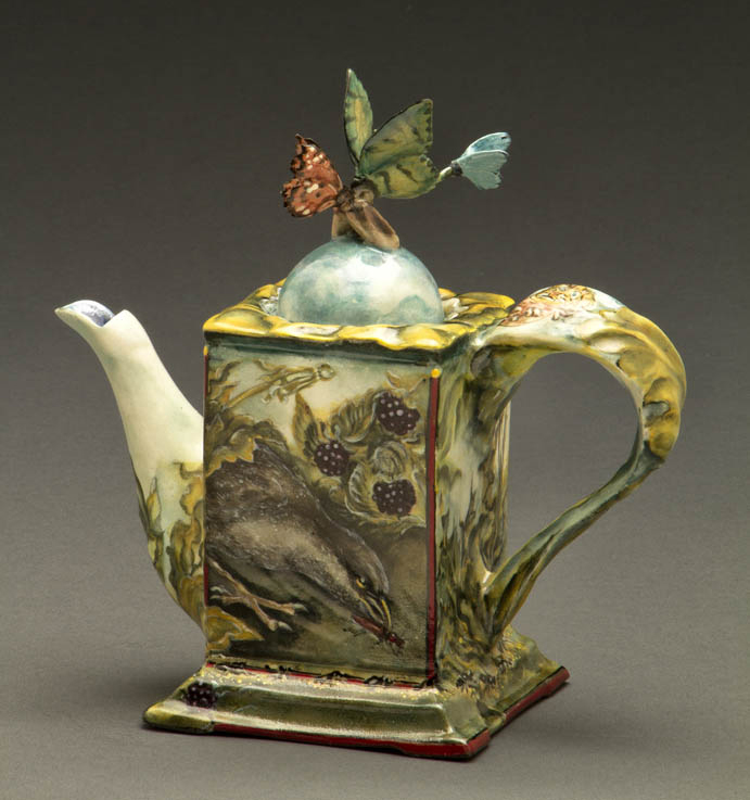 "Susan Thayer, ""You Give Me Butterflies: Appetite"" 2012, porcelain, glaze, china paint, 7 x 7 x 3.25""."