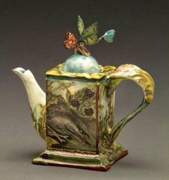 "Susan Thayer, ""You Give Me Butterflies: Appetite"" 2012, porcelain, glaze, china paint, 7 x 7 x 3.25""."