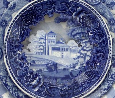 "Caroline Slotte, from the series ""Landscape Multiples"" (detail), 2013, reworked second-hand ceramics, 9.75""."