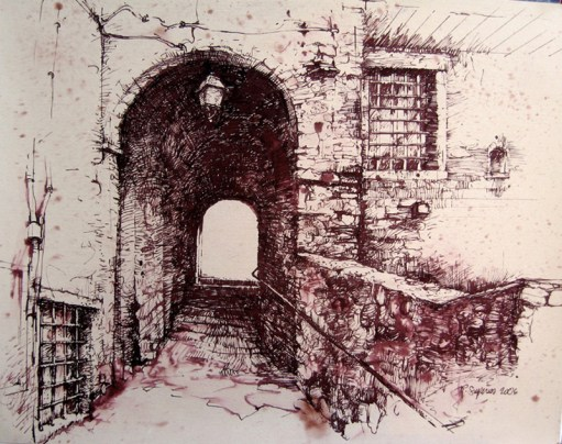 "Roy Superior, ""Castelnuovo Garfagnana, Toscana, Italia"" 2006, pen & ink, 16.5 x 20.5"". (Collection of the Artist)"