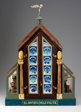 """Roy Superior, """"Olive Museum"""" 2008, wood, mixed media, 32 x 24 x10"""". (Collection of the Artist)"""