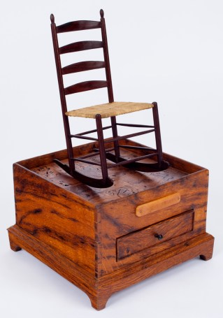 "Roy Superior, ""Shaker Rocker Shaker"" 1984, wood, metal, string, 17 x 9.75 x 10"". (Allan Stone Collection)"