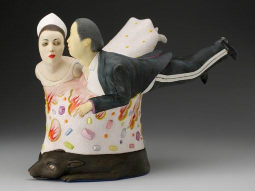 "Sergei Isupov, ""Spark"" 2014, porcelain, slip, glaze, 10.5 x 17 x 7""."