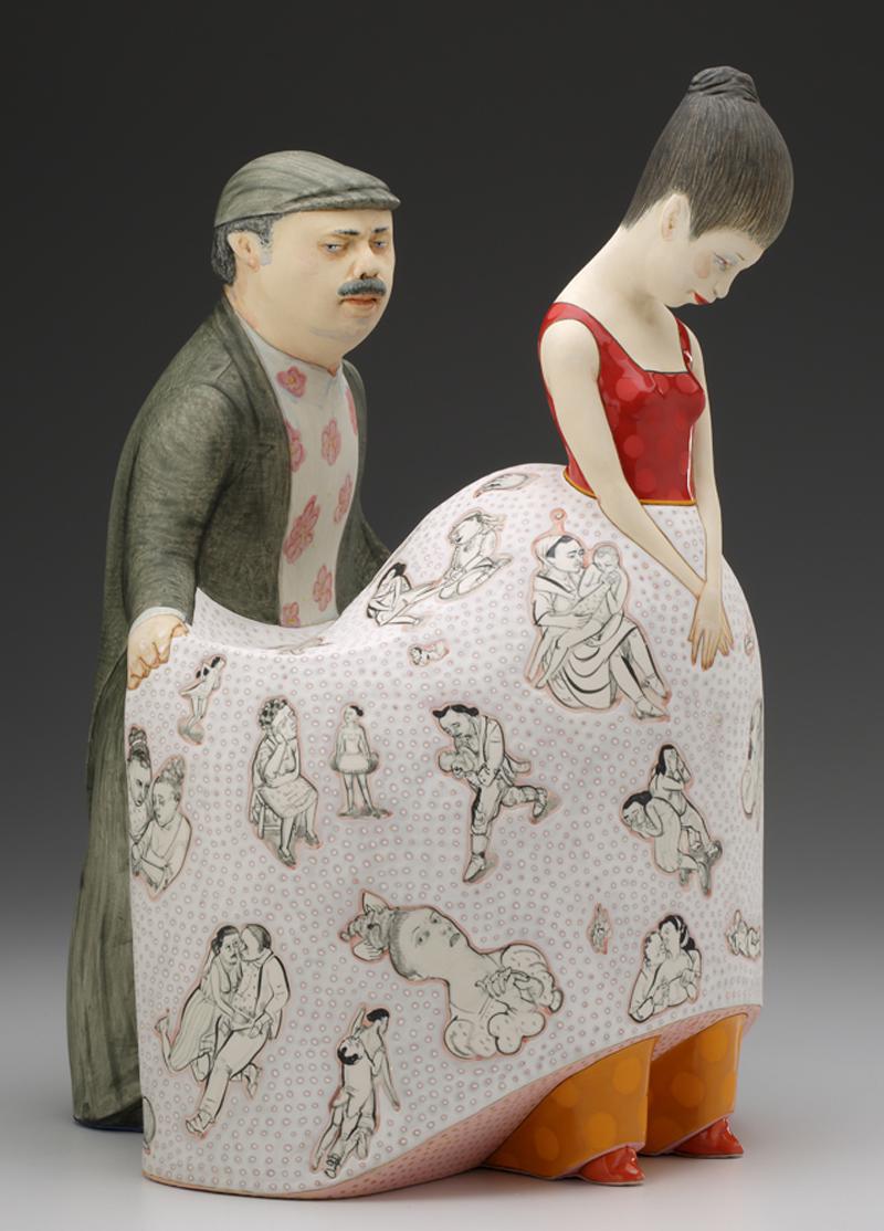 "Sergei isupov, ""We are All from the Sky"" 2014, porcelain, slip, glaze, 15.5 x 11 x 10""."