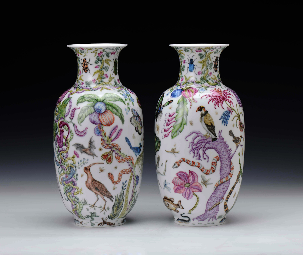 "Robin Best, ""The Florida Vases"" 2014, Xin Cai color, porcelain, 14.5 x 6.5""."