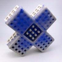 "Peter Christian Johnson, ""Blue X"" 2014, ceramic, 16.5 x 16.5 x 5""."