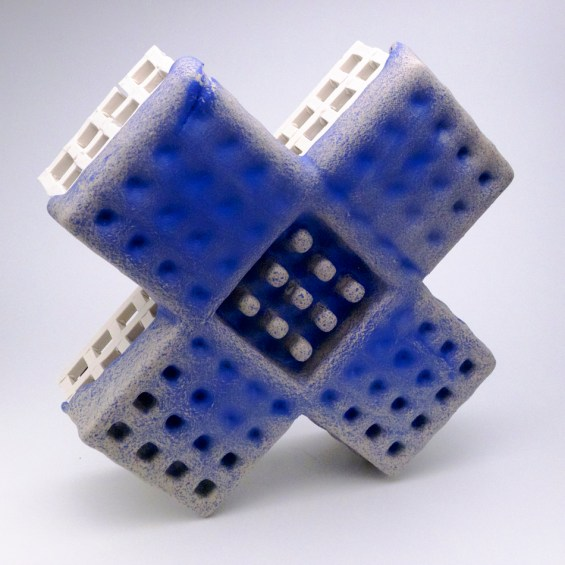 "Peter Christian Johnson, ""Blue X"" 2014, ceramic, 16.5 x 16.5 x 5""."