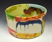 "Lauren Mabry, ""Cylinder"" 2013, red earthenware, slip, glaze, 6 x 12 x 12""."