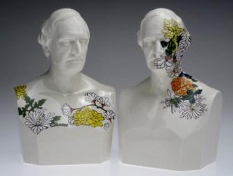 "Future Retrival, ""Alphonso Taft (Still Life) 1 and 2, 2011, porcelain, 12""."