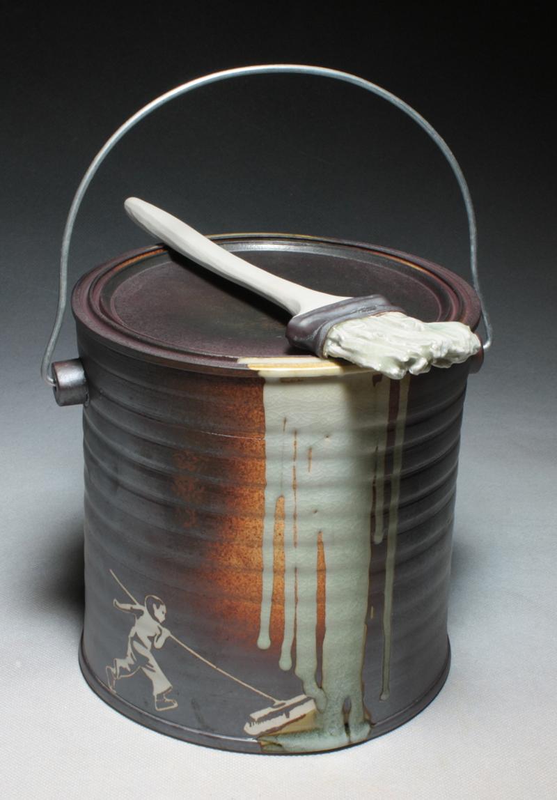 """Michael Schwegmann, """"Pain Can"""" 2014, porcelain, glaze."""
