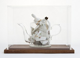 "Bouke de Vries, ""Memory Vessel de Nyon"" 2014, late 18th century Nyon porcelain teapot and mixed media, 13 x 10 x 9""."