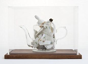 "Bouke de Vries, ""Memory Vessel de Nyon"" 2014, late 18th century Nyon porcelain teapot and mixed media, 13 x 10 x 9""."