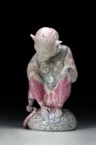 """Robin Best, """"The Knight of the Lions,"""" 2016, porcelain with on-glaze Xin Cai, 14.125 x 7.875 x 10.25""""."""