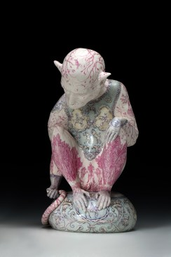 "Robin Best, ""The Knight of the Lions,"" 2016, porcelain with on-glaze Xin Cai, 14.125 x 7.875 x 10.25""."