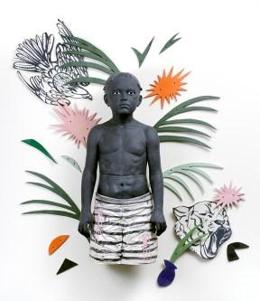 "Cristina Córdova, ""De mi isla salvaje (from my wild island)"" 2015, ceramic, resin, pigments, tiles 93 x 70"", figure 53 x 25 x 17""."