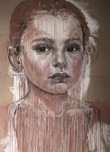 "Cristina Córdova, ""Corazón"" 2016, clay, charcoal, mixed media, acid-free cardboard, 82 x 60""."