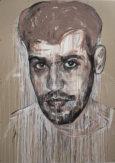 """Cristina Córdova, """"Ñeque"""" 2016, clay, charcoal, mixed media, acid-free cardboard, 82 x 60""""."""