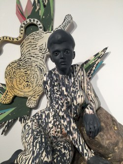 "Cristina Córdova, ""Ataque"" 2016, ceramic, resin, metal, 30 x 25 x 6""."