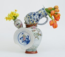 "Bouke de Vries, ""Fragmented Vase 3"" 2015, 18th & 19th century Chinese porcelain and glass. 25.5 x 12.25 x 9""."