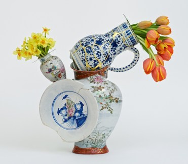 """Bouke de Vries, """"Fragmented Vase 3"""" 2015, 18th & 19th century Chinese porcelain and glass. 25.5 x 12.25 x 9""""."""