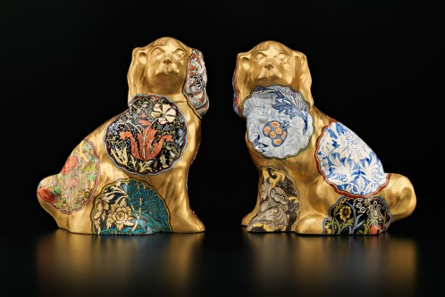 "Stephen Bowers, ""Pair of Camouflage Dogs (William Morris)"" 2015, earthenware, underglaze, glaze, gold lustre, 17 x 15.5 x 7"" each."