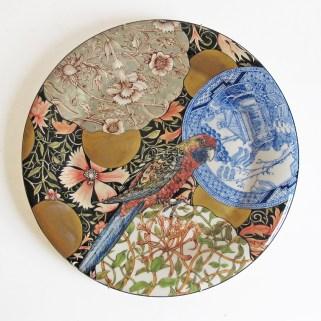 """Stephen Bowers, """"Adelaide Rosella; Plastycercus Adelaidae"""" camouflage plate, 2014, earthenware, underglaze, clear glaze, on-glaze gold lustre, enamel, 12.2""""."""
