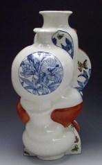 "Sin-ying Ho, ""10.11.1989 Hong Kong"" 2010, porcelain, cobalt, decal, enamel, 24 x 14 x 12""."