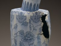 "Steven Young Lee, ""Vase with Peonies"" 2014, porcelain, cobalt inlay, 26 x 11 x 10""."